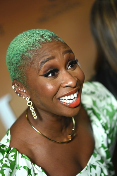 Cynthia Erivo Dangling Diamond Earrings [harriet,cynthia erivo,hair,hairstyle,face,eyebrow,lady,beauty,lip,smile,forehead,black hair,washington dc premiere,premiere,washington dc,smithsonian national museum of african american history]
