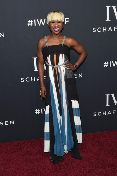 Cynthia Erivo Print Dress [for the love of cinema,red carpet,clothing,dress,carpet,premiere,fashion,hairstyle,shoulder,flooring,gown,cynthia erivo,new york city,iwc schaffhausen,gala event,iwc schaffhausen 5th annual tribeca film festival event,tribeca film festival]