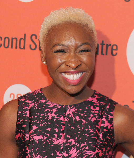 Cynthia Erivo Short Curls [hair,hairstyle,smile,happy,dear evan hansen,cynthia erivo,new york city,johns pizzeria,off-broadway,opening celebration - party]