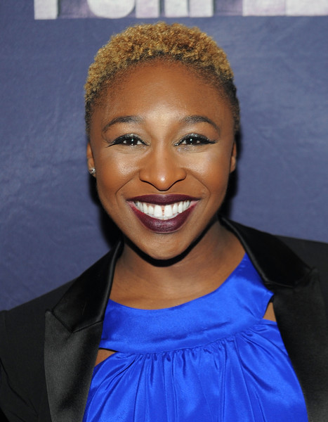 Cynthia Erivo Short Curls [color purple,hair,face,hairstyle,eyebrow,forehead,smile,blond,lip,electric blue,croydon facelift,cynthia erivo,new york city,time square,listening party,the color purple listening party,w new york]
