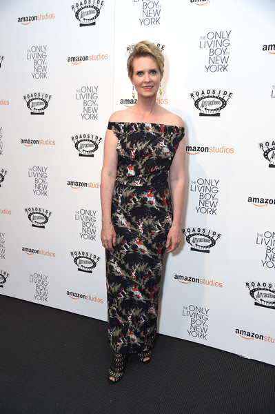 Cynthia Nixon Peep Toe Pumps [the only living boy in new york,clothing,dress,shoulder,red carpet,fashion model,carpet,cocktail dress,fashion,hairstyle,premiere,cynthia nixon,new york,the museum of modern art,new york premiere]