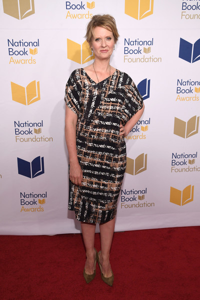 Cynthia Nixon Pumps [red carpet,carpet,clothing,dress,yellow,premiere,cocktail dress,fashion,flooring,shoulder,arrivals,cynthia nixon,cipriani wall street,new york city,national book awards]