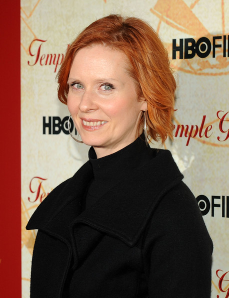 Cynthia Nixon Bob [temple grandin,hair,hairstyle,chin,premiere,blond,suit,long hair,white-collar worker,fictional character,little black dress,cynthia nixon,new york city,time warner screening room,hbo,premiere,premiere]
