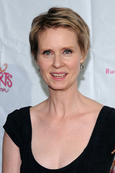 Cynthia Nixon Short Side Part [hair,face,hairstyle,eyebrow,blond,chin,beauty,lip,premiere,brown hair,rush hearts education luncheon,the plaza hotel,new york city,cynthia nixon]