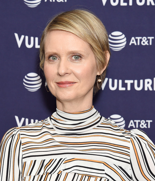 Cynthia Nixon Short Side Part [hair,face,hairstyle,blond,eyebrow,chin,hair coloring,bob cut,smile,premiere,cynthia nixon,los angeles,the hollywood roosevelt hotel,california,vulture festival]