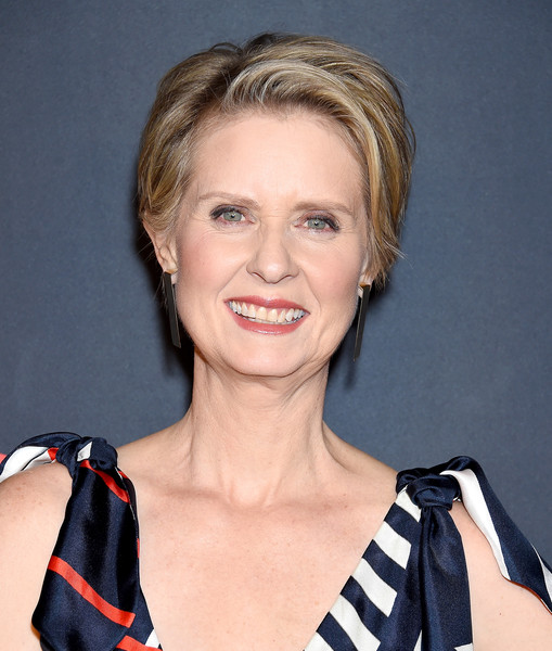 Cynthia Nixon Short Side Part [hair,face,hairstyle,blond,chin,eyebrow,beauty,lip,cheek,pixie cut,arrivals,cynthia nixon,california,los angeles,out magazine,lexus,quixote studios,out100 awards celebration]