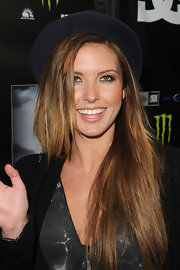 Audrina Patridge swept on a pearly peachy-nude lipstick for a screening of 'Waiting for Lightning.'