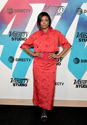 Gabrielle Union paired her top with a matching high-waisted maxi skirt.
