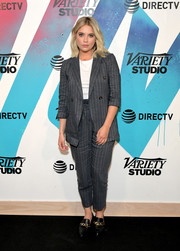 Ashley Benson suited up in gray pinstripes for her visit to DIRECTV House.