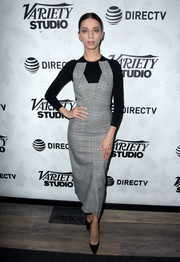 Angela Sarafyan looked modern and stylish in a structured glen plaid dress at the 'Extremely Wicked, Shockingly Evil and Vile' party.