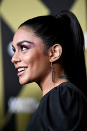 Vanessa Hudgens styled her hair into a high ponytail for DIRECTV Super Saturday Night 2019.