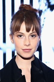 Elettra Wiedemann looked cool with her top knot and layered bangs at the DKNY fashion show.