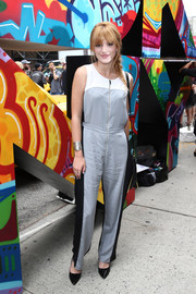 Bella Thorne looked modern and trendy in this tricolor jumpsuit at the DKNY fashion show.