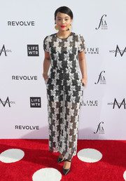 Kiersey Clemons looked airy in a black-and-white lace jumpsuit by Diane von Furstenberg at the Fashion Los Angeles Awards.
