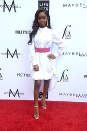 Marsai Martin looked effortlessly stylish in a white high-low shirtdress by Alexander McQueen at the 2018 Fashion Los Angeles Awards.