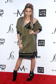 Paris Jackson topped off her dress with a matching bomber jacket.