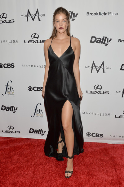More Pics of Barbara Palvin Dark Lipstick (1 of 6) - Makeup Lookbook - StyleBistro [clothing,dress,shoulder,red carpet,carpet,cocktail dress,hairstyle,little black dress,leg,joint,arrivals,barbara palvin,new york,daily front row,the daily front row,park hyatt,annual fashion media awards]