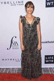 Rashida Jones donned a loose leopard-patterned maxi dress for the Daily Front Row's Fashion Media Awards.