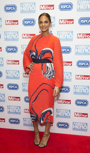 Alesha Dixon made a vibrant choice with this red-orange swirl-print dress for the Animal Hero Awards.