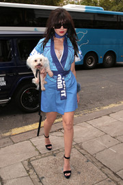 Daisy Lowe was spotted during London Fashion Week wearing a blue 'Bud Light' kimono.