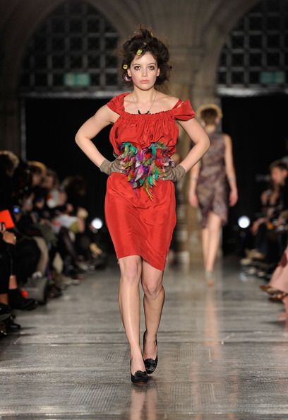 Daisy Lowe Cocktail Dress [fashion model,fashion show,fashion,runway,clothing,shoulder,dress,fashion design,beauty,event,daisy lowe,lfw autumn,vivienne westwood red label runway,runway,london,england,vivienne westwood red label,show,london fashion week]