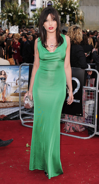 Daisy Lowe Form-Fitting Dress [sex and the city 2,dress,clothing,red carpet,carpet,shoulder,gown,fashion model,premiere,green,flooring,daisy lowe,uk,england,london,odeon leicester square,red carpet arrivals,sex and the city 2 - uk,premiere,premiere]