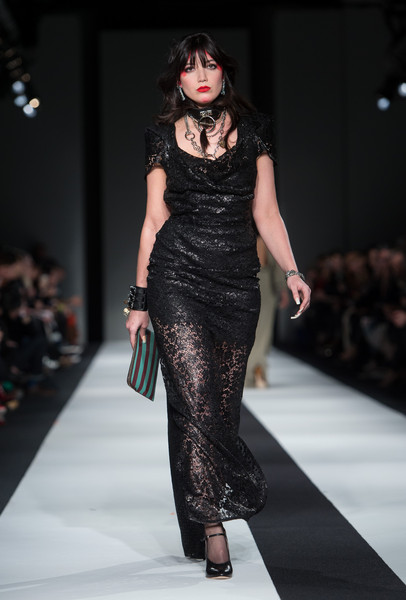 Daisy Lowe Lace Dress [fashion model,fashion,runway,fashion show,clothing,dress,haute couture,shoulder,fashion design,neck,daisy lowe,fw15,vivienne westwood red label - runway,runway,london,england,science museum,vivienne westwood red label,lfw,show]