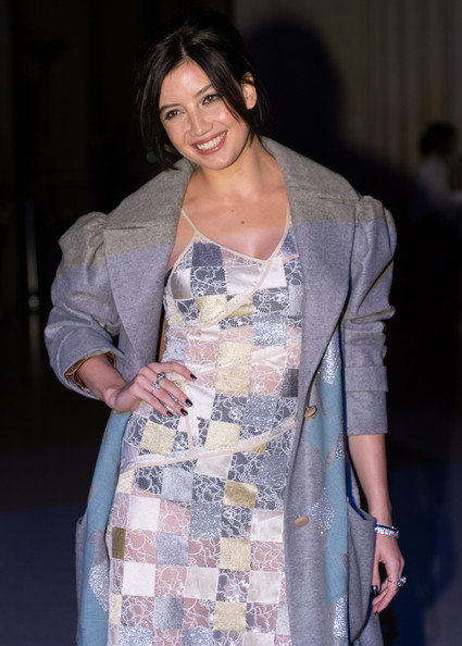 Daisy Lowe Diamond Ring [show,clothing,fashion,outerwear,dress,fashion design,jacket,black hair,style,haute couture,blazer,front row celebrities,jonathan saunders,dasiy lowe,london,england,london fashion week]