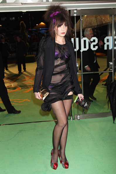 Daisy Lowe Platform Pumps [alice in wonderland: royal world premiere - inside arrivals,tights,clothing,leg,fashion,thigh,snapshot,footwear,human leg,black hair,stocking,daisy lowe,uk,england,london,odeon leicester square,tabloid newspapers,royal world premiere]
