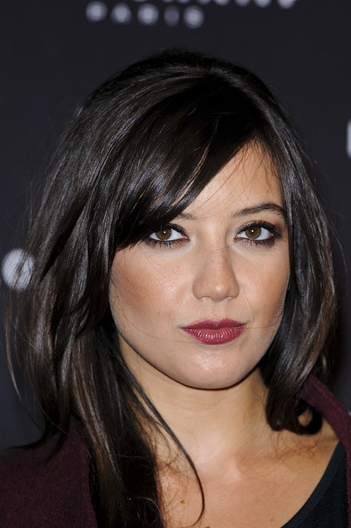 Daisy Lowe Berry Lipstick [hair,face,hairstyle,eyebrow,chin,layered hair,lip,bangs,beauty,brown hair,arrivals,daisy lowe,longchamp regent street,london,england,party,party,longchamp regent street grand opening,opening]