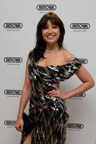 Daisy Lowe Red Nail Polish [clothing,shoulder,dress,hairstyle,premiere,long hair,joint,cocktail dress,brown hair,carpet,daisy lowe,rimowa flagship,london,store,england,rimowa flagship store]