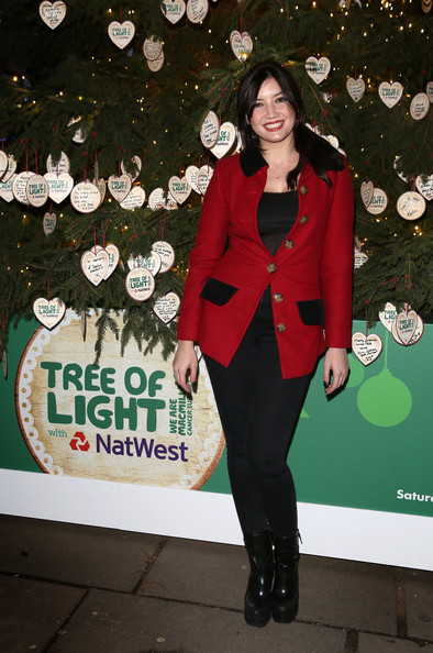 Daisy Lowe Fitted Jacket [photo,green,red,outerwear,blazer,suit,jacket,tuxedo,formal wear,christmas tree,pantsuit,daisy lowe,model,macmillan tree of light with natwest,macmillan tree of light,light,british,southbank centre,natwest,opening]