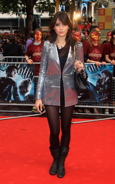 Daisy Lowe Sequined Jacket [harry potter and the half blood prince,red carpet,carpet,clothing,premiere,fashion,flooring,public event,tights,footwear,leg,arrivals,daisy lowe,england,london,empire leicester square,world premiere]