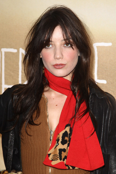 Daisy Lowe Patterned Scarf [where the wild things are,hair,hairstyle,lip,bangs,chin,black hair,brown hair,long hair,layered hair,hair coloring,inside arrivals,daisy lowe,uk,vue west end,england,london,tabloid newspapers,premiere,premiere]