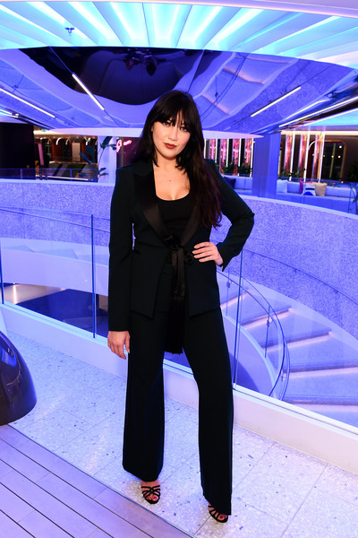 Daisy Lowe Pantsuit [cruise ship arrives,blue,cobalt blue,purple,electric blue,snapshot,fashion,black hair,formal wear,photography,pantsuit,virgin voyages scarlet lady,daisy lowe,star-studded extravaganza,cruise ship,liverpool,england,virgin voyages,drinks reception,fashion,beauty.m]