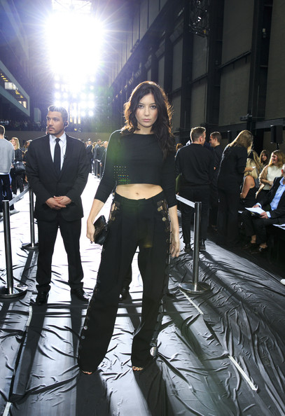 Daisy Lowe Crop Top [show,fashion,suit,event,photography,performance,formal wear,white-collar worker,daisy lowe,christopher kane,front row,london,england,london fashion week]