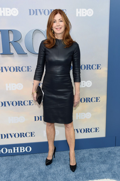 Dana Delany Leather Dress [clothing,dress,cocktail dress,little black dress,shoulder,cobalt blue,footwear,carpet,fashion,electric blue,new york premiere,sva theater,new york city,dana delany]