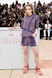 Lily-Rose Depp finished off her top with matching shorts.
