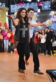 Melissa Rycroft danced her way through ABC's Good Morning America segment in an edgy black embellished tank top.