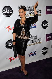 Tia Carrere mixed a black leather skirt with a leopard-print top and a sequined jacket at the 'Dancing with the Stars: Live in Las Vegas.'