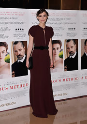 Keira Knightley looked ultra-romantic in a Merlot evening dress at the UK premiere of 'A Dangerous Method.'