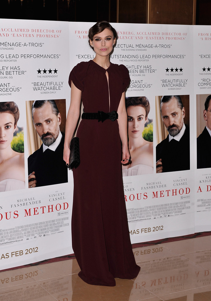 "Actress Keira Knightley attends the ""A Dangerous Method"" UK Gala film premiere at The Mayfair Hotel on January 31, 2012 in London, England."