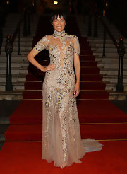 Dannii Minogue wore a bejeweled champagne gown during Melbourne Spring Fashion Week 2011.