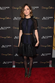 Rose Byrne looked modern and feminine at the 'Danny Collins' premiere in a navy Lanvin cocktail dress with a shimmery skirt and sleeves.