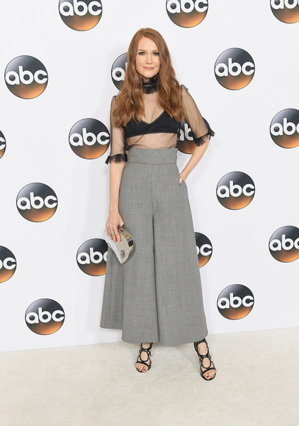 Darby Stanchfield Metallic Clutch [clothing,dress,fashion,shoulder,footwear,joint,flooring,carpet,shoe,style,arrivals,darby stanchfield,beverly hills,california,the beverly hilton hotel,disney,abc television group,summer tca,summer tca tour]