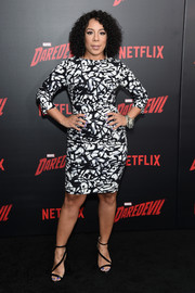 Selenis Leyva finished off her look with strappy black heels.