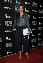 Rachel Roy worked an edgy vibe in a gray leather moto jacket during the premiere of 'Sleeping with Other People.'