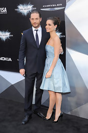 Pretty is the only way to describe this ultra-feminine A-line cocktail dress. Charlotte Riley looked lovely in this powder blue subtly patterned dress.