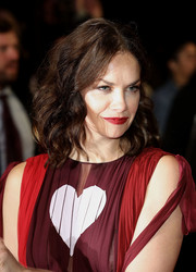 Ruth Wilson wore her hair down to her shoulders in bouncy curls at the BFI London Film Festival premiere of 'Dark River.'
