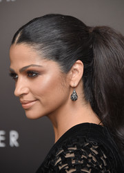 Camila Alves attended the New York premiere of 'The Dark Tower' wearing a pair of gemstone drop earrings.
